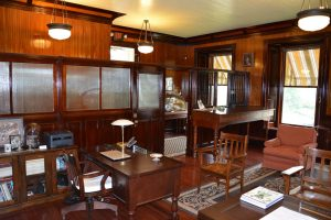 Wood paneled office room